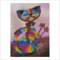 """Ткань с печатью для вышивки бисером """"Цветной кот"""""""