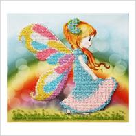 """Ткань с печатью для вышивки бисером """"Девочка-бабочка """""""