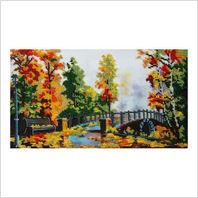 """Ткань с печатью для вышивки бисером ''Осенний мост"""""""