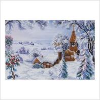 """Ткань с печатью для вышивки бисером ''Зимний пейзаж"""""""