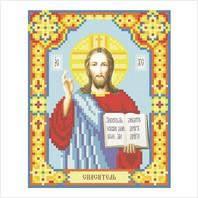 """Ткань с печатью для вышивки бисером иконы ''Иисус Христос"""""""