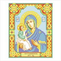 """Ткань с печатью для вышивки бисером иконы ''Богородица Иерусалимская"""""""