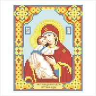"""Ткань с печатью для вышивки бисером иконы ''Богородица Владимирская"""""""