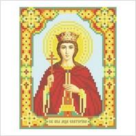 """Ткань с печатью для вышивки бисером иконы """"Святая Екатерина"""""""