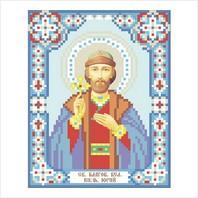 """Ткань с печатью для вышивки бисером иконы ''Князь Юрий (Георгий)"""""""