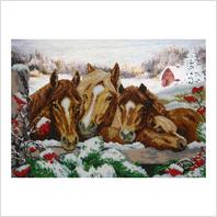 """Ткань с печатью для вышивки бисером ''Зимние лошади"""""""