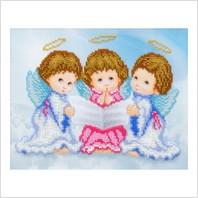 """Ткань с печатью для вышивки бисером """"Трио ангелочков"""""""