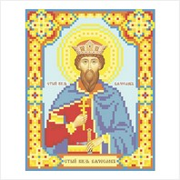 """Ткань с печатью для вышивки бисером иконы ''Святой князь Вячеслав"""""""