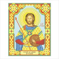 """Ткань с печатью для вышивки бисером иконы ''Святой Артемий"""""""