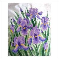 """Ткань с печатью для вышивки бисером ''Фиолетовые ирисы"""""""