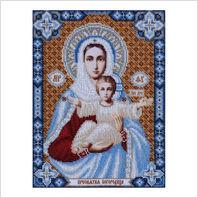 """Ткань с печатью для вышивки бисером иконы ''Пресвятая Богородица"""""""