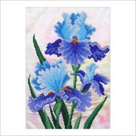 """Ткань с печатью для вышивки бисером ''Голубой ирис"""""""