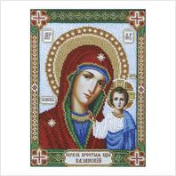 """Ткань с печатью для вышивки бисером иконы """"Богородица Казанская"""""""