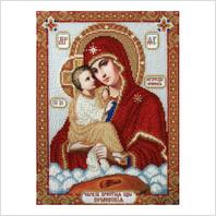 """Ткань с печатью для вышивки бисером иконы ''Богородица Почаевская"""""""