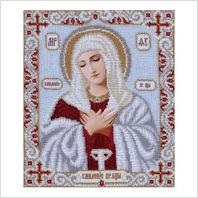 """Ткань с печатью для вышивки бисером иконы ''Богородица Умиление"""""""