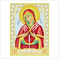 """Ткань с печатью для вышивки бисером иконы ''Богородица Семистрельная"""""""