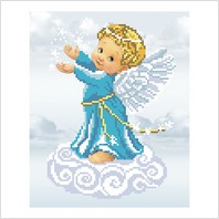 """Ткань с печатью для вышивки бисером """"Ангел со звездами"""""""