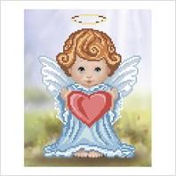 """Ткань с печатью для вышивки бисером """"Ангелочек с сердечком"""""""