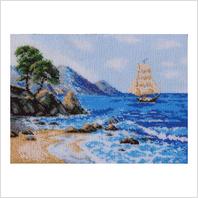 """Ткань с печатью для вышивки бисером ''Морской пейзаж"""""""