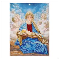 """Ткань с печатью для вышивки бисером иконы """"Мадонна с Иисусом и ангелами"""""""