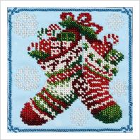 """Ткань с печатью для вышивки бисером """"Новогодние сапожки"""""""