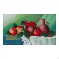 """Ткань с печатью для вышивки бисером ''Натюрморт с яблоками и калиной"""""""