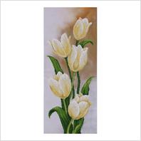 """Ткань с печатью для вышивки бисером ''Белые тюльпаны"""""""