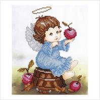 """Ткань с печатью для вышивки бисером """"Ангелочек с яблоками"""""""