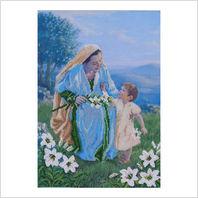 """Ткань с печатью для вышивки бисером иконы """"Мадонна Санта Мария"""""""