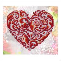 """Ткань с печатью для вышивки бисером ''Кружевное сердце"""""""