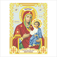 """Ткань с печатью для вышивки бисером иконы ''Богородица Иверская"""""""