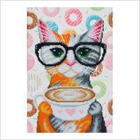 """Ткань с печатью для вышивки бисером ''Кофейная кошка"""""""