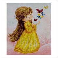 """Ткань с печатью для вышивки бисером """"Девочка с бабочками"""""""