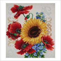 """Ткань с печатью для вышивки бисером ''Полевые цветы"""""""