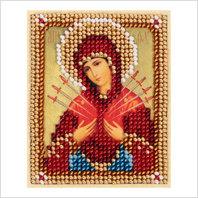 """Ткань с печатью для вышивки бисером ''Богородица """"Семистрельная"""""""
