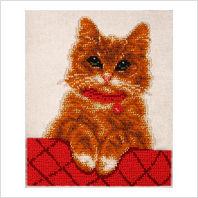 """Ткань с печатью для вышивки бисером """"Котик Персик"""""""