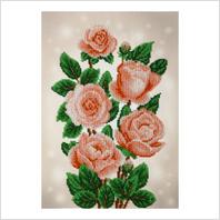 """Ткань с печатью для вышивки бисером """"Нежные розы"""""""