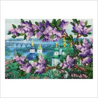 """Ткань с печатью для вышивки бисером """"Вид из ботанического сада"""""""