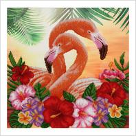 """Ткань с печатью для вышивки бисером """"Фламинго"""""""