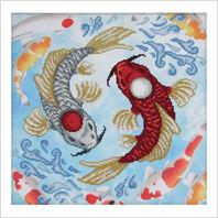 """Ткань с печатью для вышивки бисером """"Карпы Кои Инь и Ян"""""""