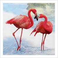 """Ткань с печатью для вышивки бисером """"Розовые фламинго"""""""