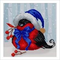 """Ткань с печатью для вышивки бисером """"Праздничная птичка"""""""