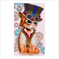 """Ткань с печатью для вышивки бисером """"Cтимпанк кот"""""""