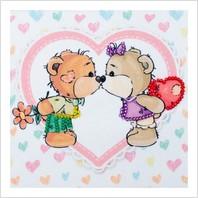"""Ткань с печатью для вышивки бисером """"Влюбленные медвежата"""""""