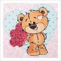 """Ткань с печатью для вышивки бисером """"Медвежонок с букетом"""""""