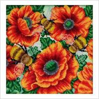 """Схема для вышивки бисером """"Шмели в цветочном саду"""""""