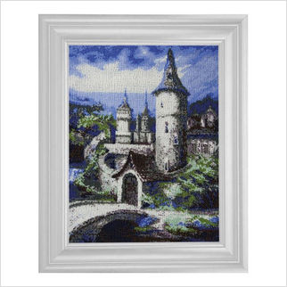 """Вышитая бисером картина """"Старинная башня"""""""
