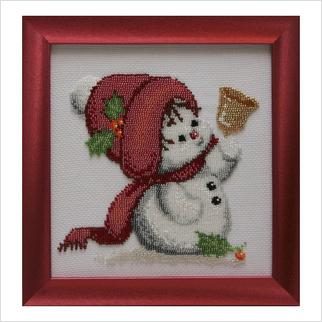 """Вышитая бисером картина """"Снеговик с колокольчиком"""""""