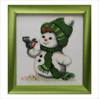 """Вышитая бисером картина """"Снеговик и снегирь"""""""