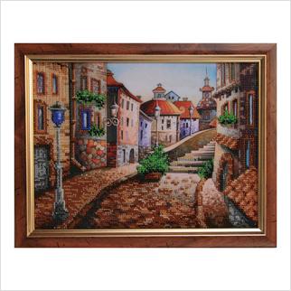 "Вышитая бисером картина ""Улица старого города"""